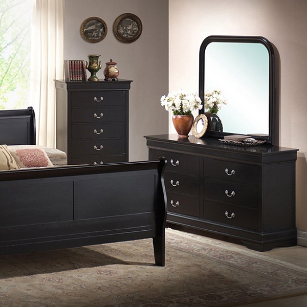 Harrell King Size Transitional Bedroom Set - Black Sleigh Bed - WI-IDB03-5PC-KING-BED-SET