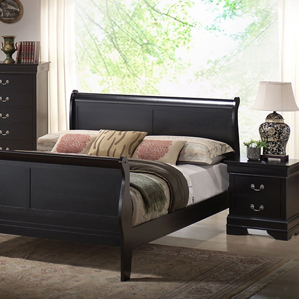 Harrell Queen Size Transitional Bedroom Set - Black Sleigh Bed