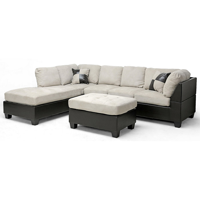 Mancini Sectional & Ottoman - Microfiber Seat, Left Facing Chaise