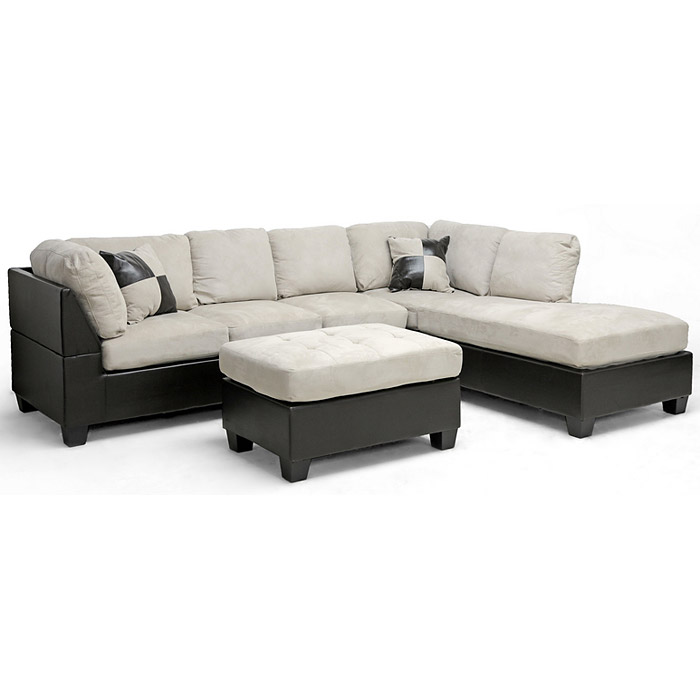 Mancini Sectional & Ottoman - Microfiber Seat, Right Facing Chaise