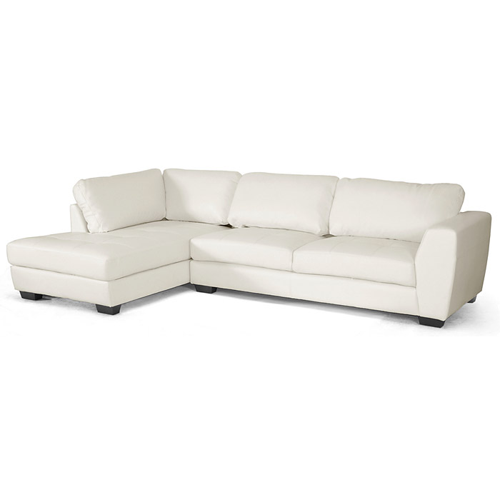 Orland Sectional Sofa - White Leather, Left Facing Chaise