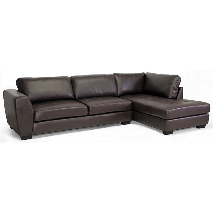 Orland Sectional Sofa - Dark Brown Leather, Right Facing Chaise