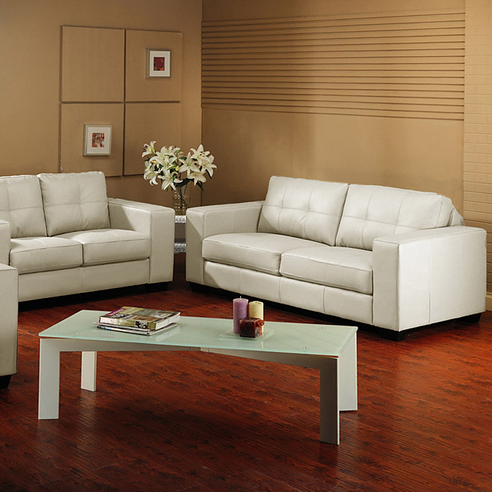 Whitney Modern Sofa and Loveseat - Tufted, Ivory Leather