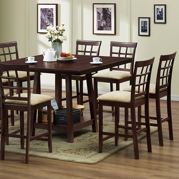Katelyn 7-Piece Wood Counter Set - Cappuccino Finish, Beige Seat