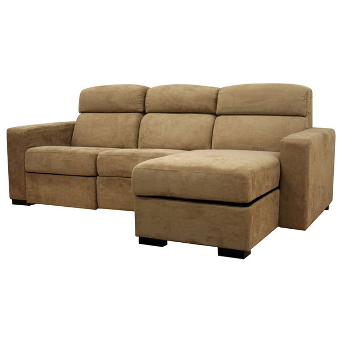 Holcomb Tan Microfiber Reclining Sectional with Storage Chaise