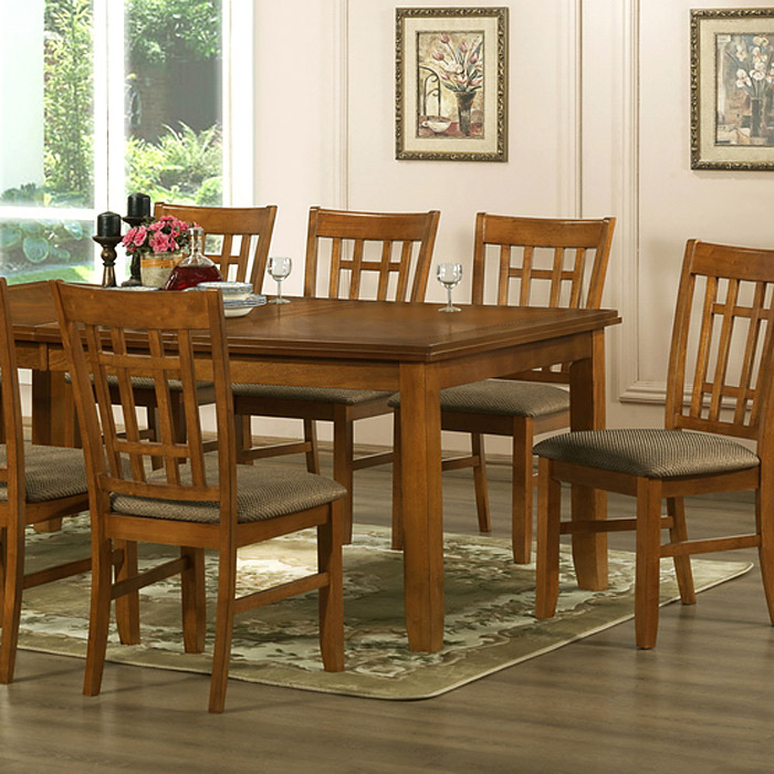 Megan 7-Piece Dining Set - Extension Table, Windowpane Chairs