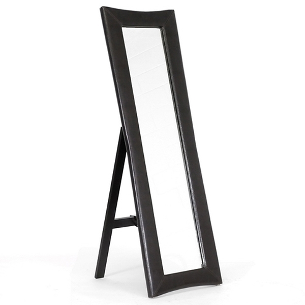 Hurst Upholstered Mirror - Built-In Folding Stand, Dark Brown