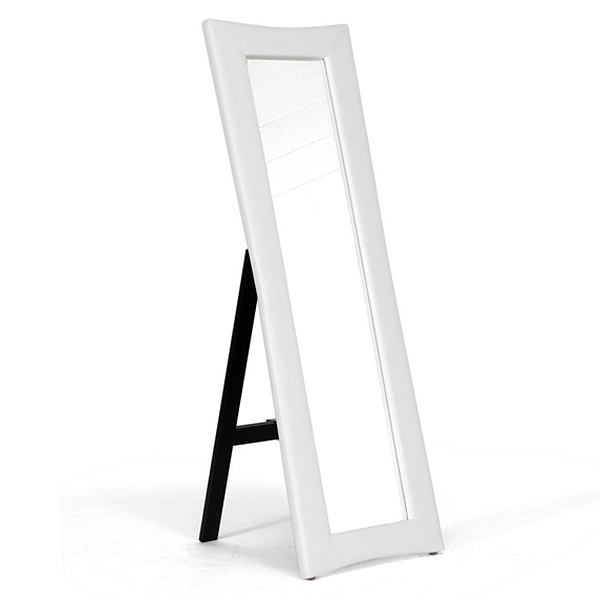 Hurst Upholstered Mirror - Built-In Folding Stand, White - WI-MIRROR-0506074-WHITE