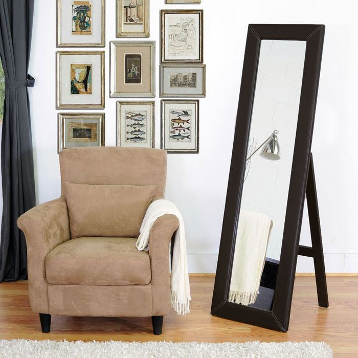 McLean Dark Brown Mirror with Built-In Stand - WI-MIRROR-506064