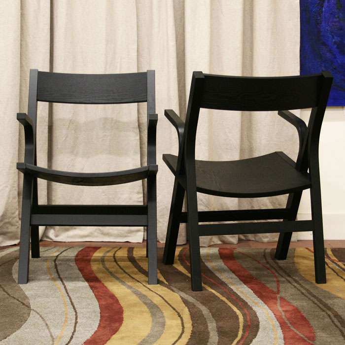 Nes Wooden Arm Chair in Black - WI-NES-ARM-CH-110