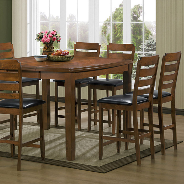 Olivia 7-Piece Counter Set - Extension Table, Ladder Back Stools