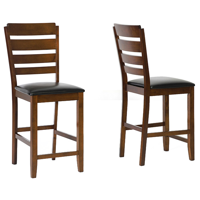 Olivia 25'' Ladder Counter Stool - Walnut, Black Seat - WI-PCH5002-S3-24