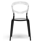 Orlie Dining Chair - Stackable, Clear Back, Black Seat