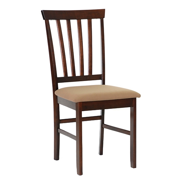 Tiffany Slatted Dining Chair - Cappuccino, Taupe Seat