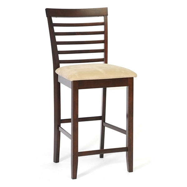 Kelsey 25'' Wood Counter Stool - Cappuccino, Beige Seat
