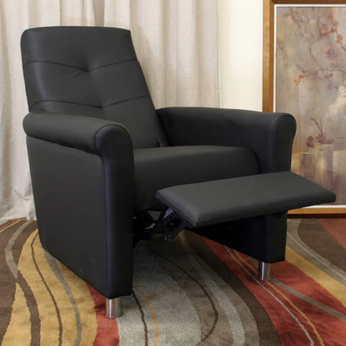 Cobden Black Recliner with Steel Legs - WI-PER-012M