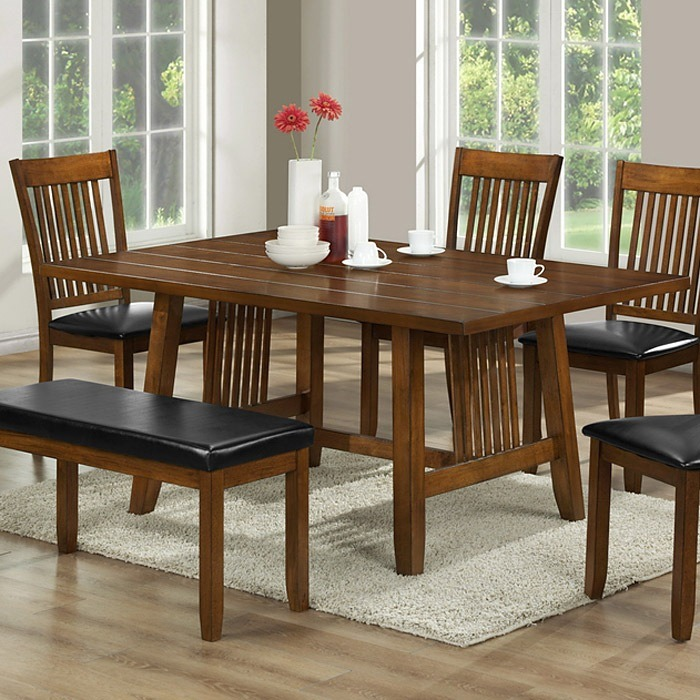 Rachel 6-Piece Dining Table Set - Walnut Brown, Slat Back Chairs
