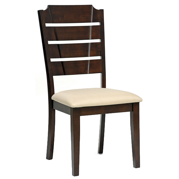 Victoria Slatted Dining Chair - Cappuccino Frame, Beige Fabric