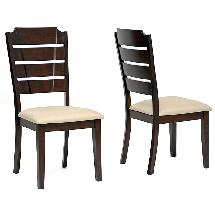 Victoria Dining Set - Extension Leaf, Cappuccino, Beige Fabric - WI-RT201-DINING-SET