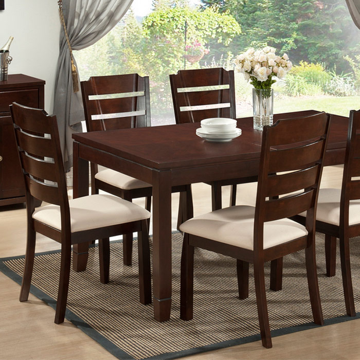 Victoria Dining Set - Extension Leaf, Cappuccino, Beige Fabric
