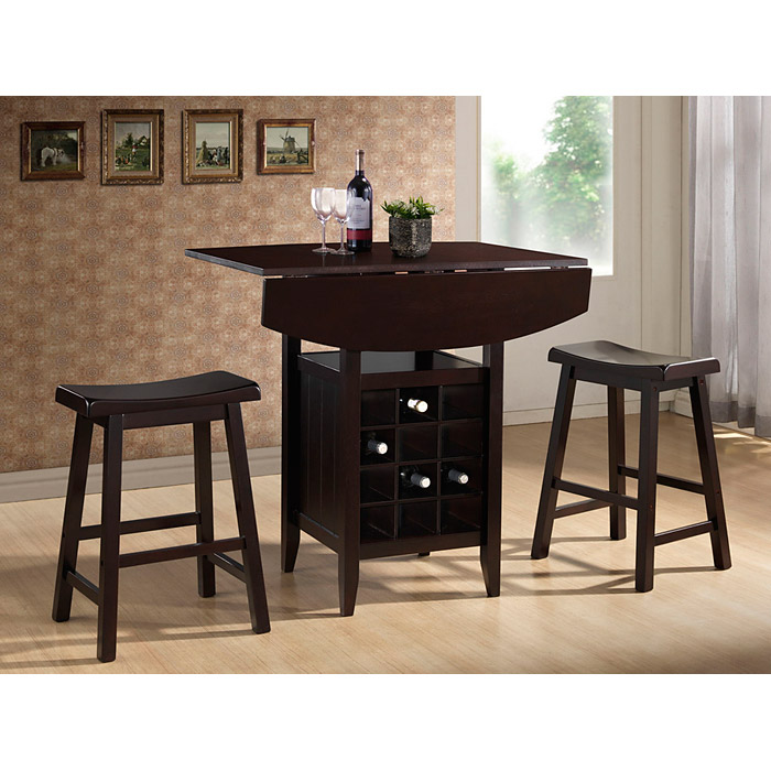 Reynolds Wood Pub Set - Drop Leaf, Wine Rack, Backless Stools - WI-RT227-PUB-STOOL-SET