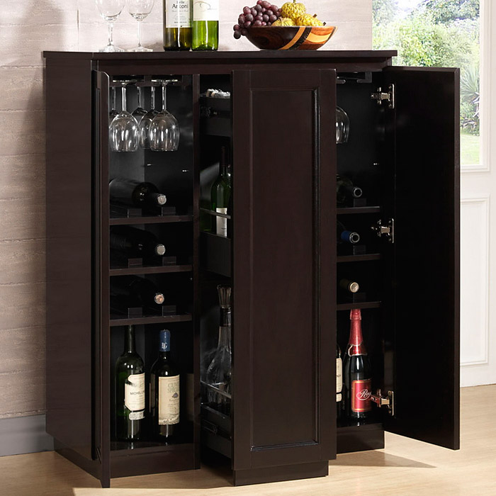 Baltimore Wooden Bar Cabinet - Wenge, Sliding Vertical Storage - WI-RT229-OCC-WENGE-WC