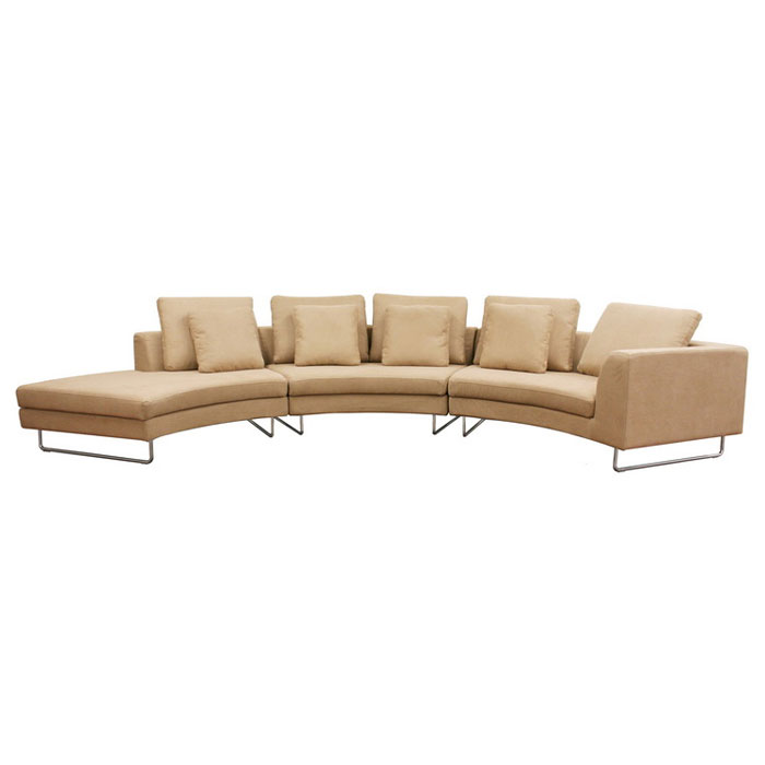 Lilia Curved Tan Fabric Sectional