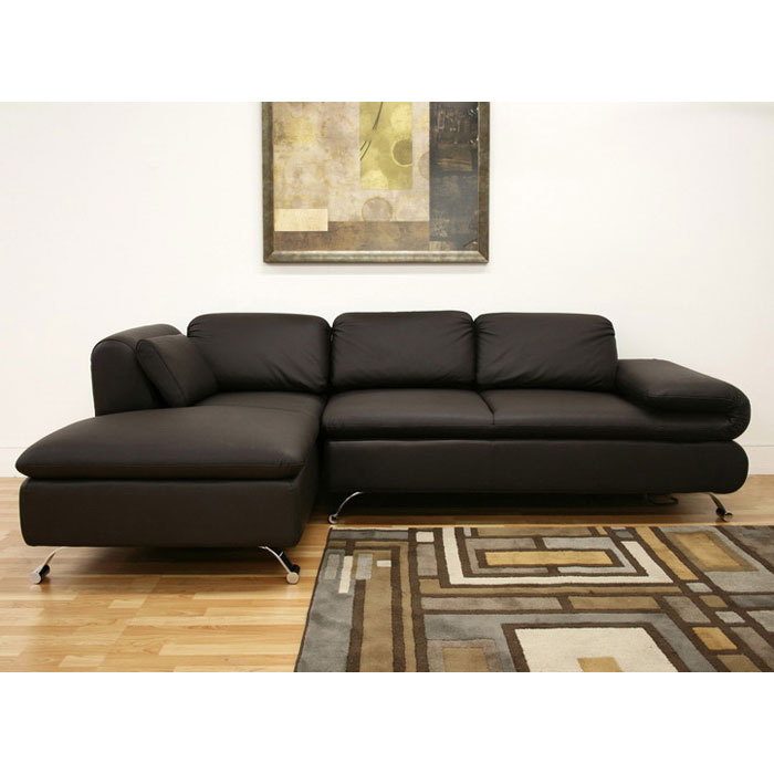 Misha Brown Leather Modern Sectional with Chaise - WI-SF492C-BRW