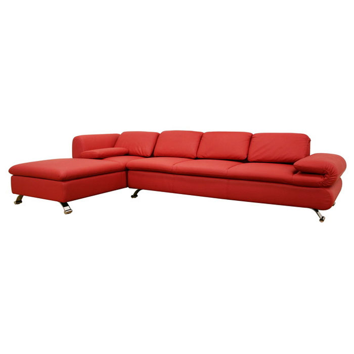 Misha Red Leather Modern Sectional with Chaise