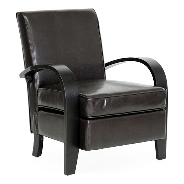 Iringa Lounge Chair - Black Curved Arms, Dark Brown Upholstery