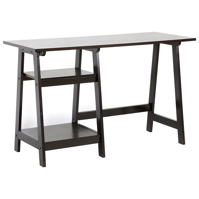 Mott Sawhorse Wooden Desk - Espresso Finish, 2 Shelves