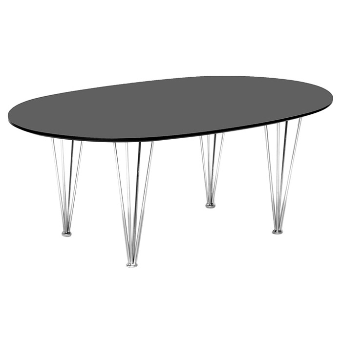 Hubbard Wooden Coffee Table - Wenge, Oval Top, Chrome Steel