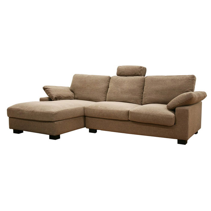 Priscilla Tan Twill Fabric Modern Sectional with Chaise