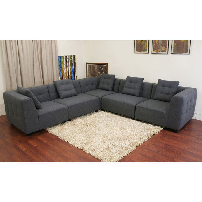 Alcoa Slate Grey Modular Fabric Sectional - WI-TD0902-A227-14A