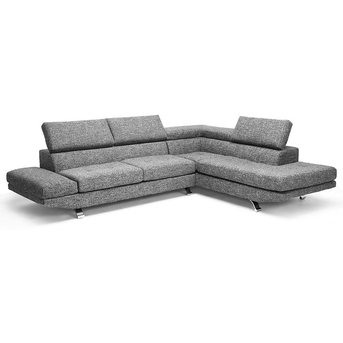 Adelaide Chaise Sectional Sofa - Adjustable Headrests, Gray Twill - WI-TD1909-SECTIONAL-RFC-07026-6A