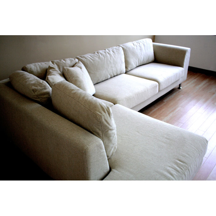 Sterling Cream Twill Fabric Sectional Sofa with Chaise - WI-TD7304-RUGI-01
