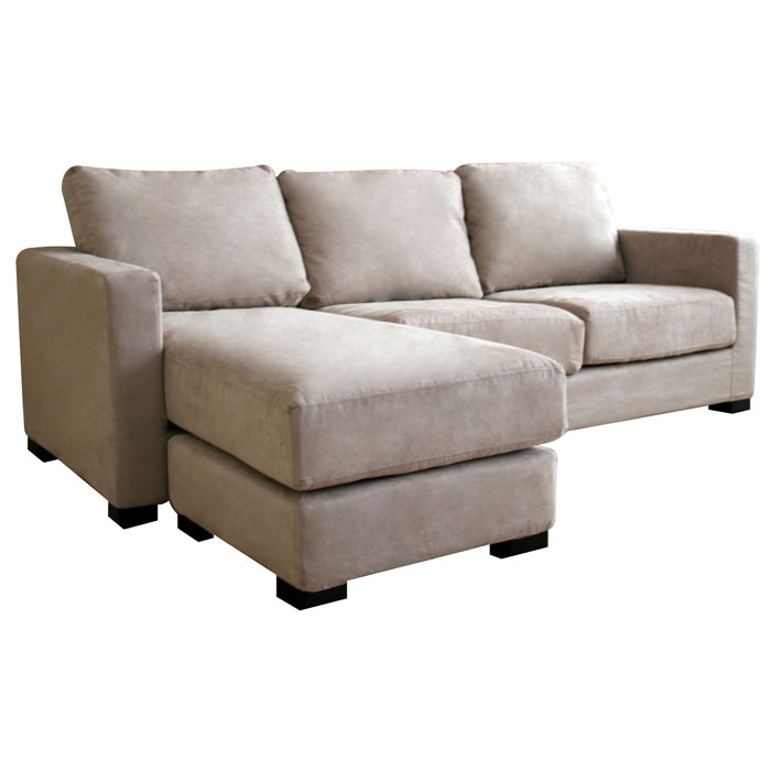 Tan Microfiber Sectional Sofa and Ottoman