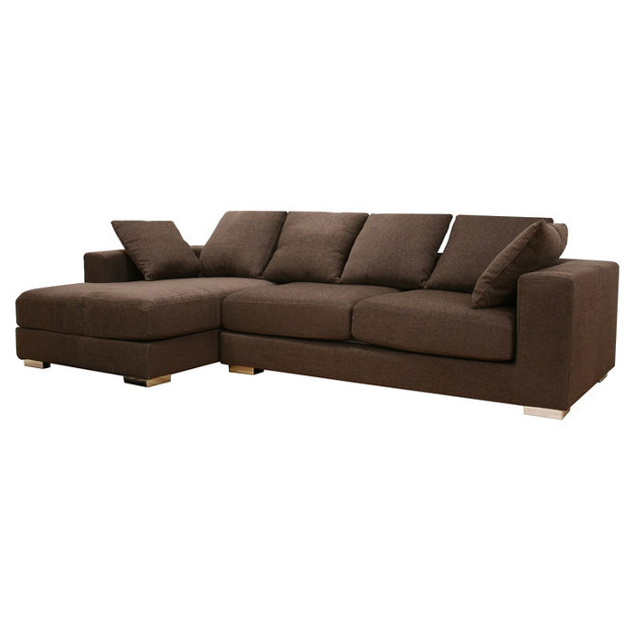 Florence Brown Twill Fabric Modern Sectional with Chaise