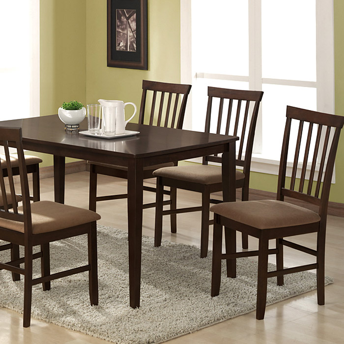 Tiffany 5-Piece Dining Set - Cappuccino Finish, Slat Back Chairs