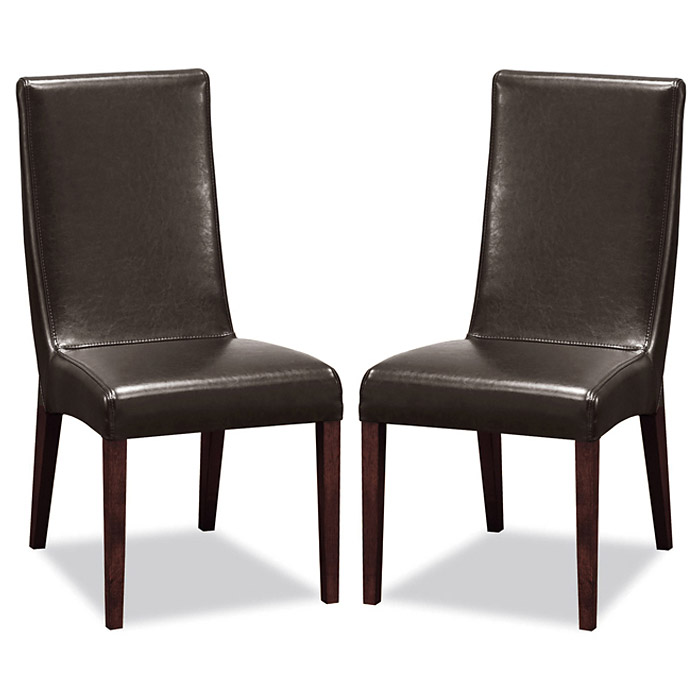 Vanessa Upholstered Dining Chair - Dark Brown Leather - WI-VANESSA-DINING-CHAIR-107-560