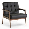Stratham Modern Armchair - Button Tufts, Wood Frame, Black Seat