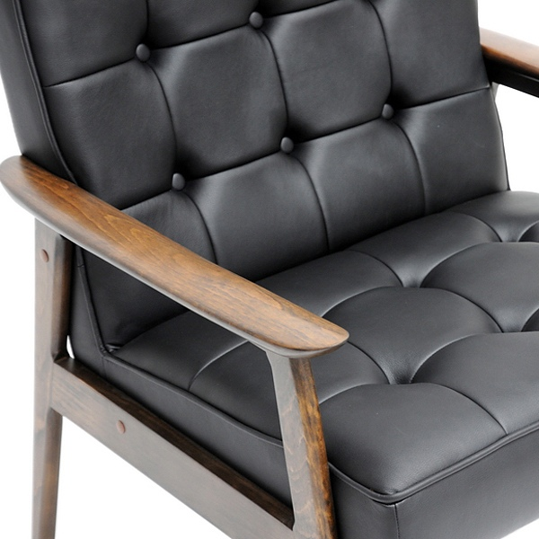 Stratham Modern Armchair - Button Tufts, Wood Frame, Black Seat - WI-WIKI-CN-A-BLACK