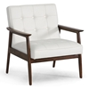 Stratham Modern Armchair - Button Tufts, Wood Frame, White Seat