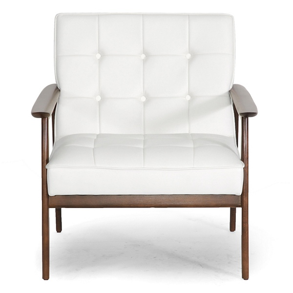 Stratham Modern Armchair - Button Tufts, Wood Frame, White Seat - WI-WIKI-CN-A-WHITE