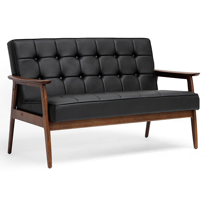 Stratham Modern Sofa - Button Tufts, Wood Frame, Black Seat