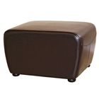 Oxford Full Leather Ottoman in Dark Brown