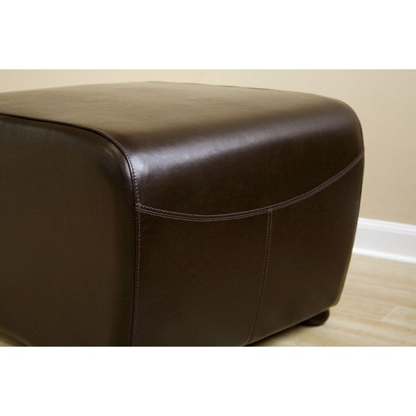 Oxford Full Leather Ottoman in Dark Brown - WI-Y-051-J001