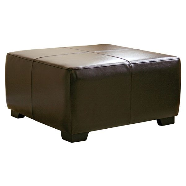 Willow Full Leather Ottoman in Dark Brown