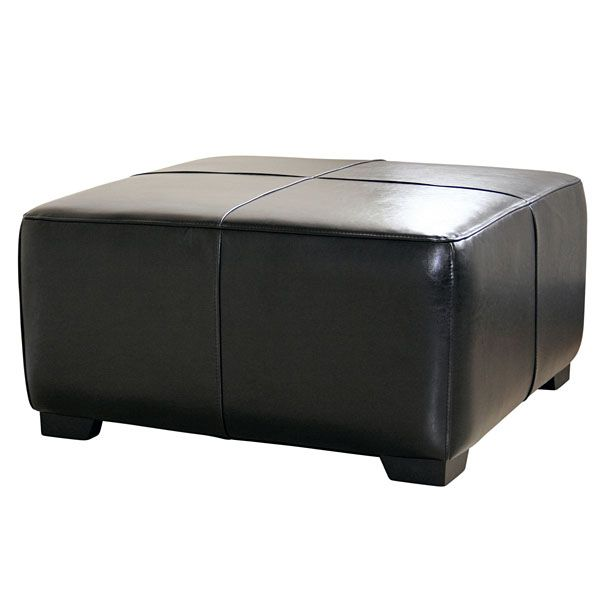 Willow Full Leather Ottoman in Black