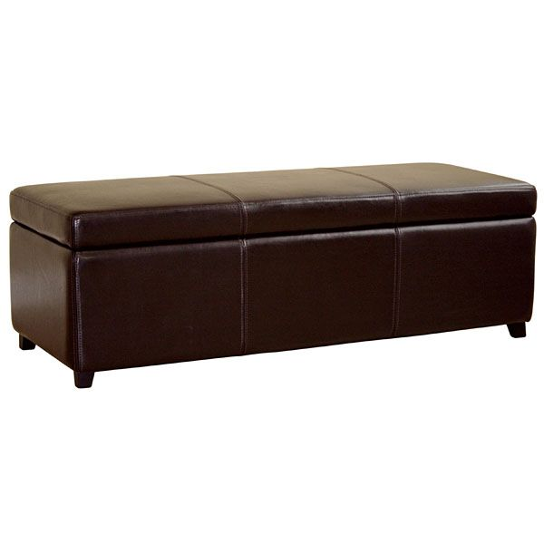 Heritage Full Leather Storage Ottoman
